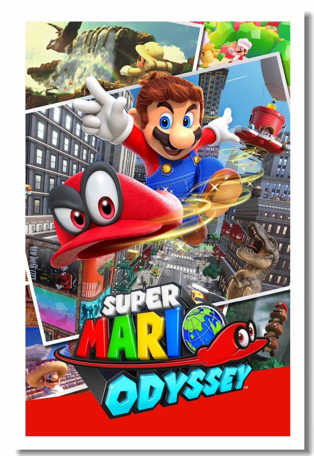 Us 5 59 30 Off Custom Canvas Wall Decals Super Mario Odyssey Poster Mario Bros Wall Sticker Mural Living Wallpaper Kids Room Decorations 0506 In