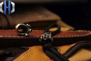Image 4 - Paracord Beads Brass Skull Anti virus Mask Knife Beads Pure Copper EDC Pendant Beads DIY Flashlight Falls Rope Pendant Keychain