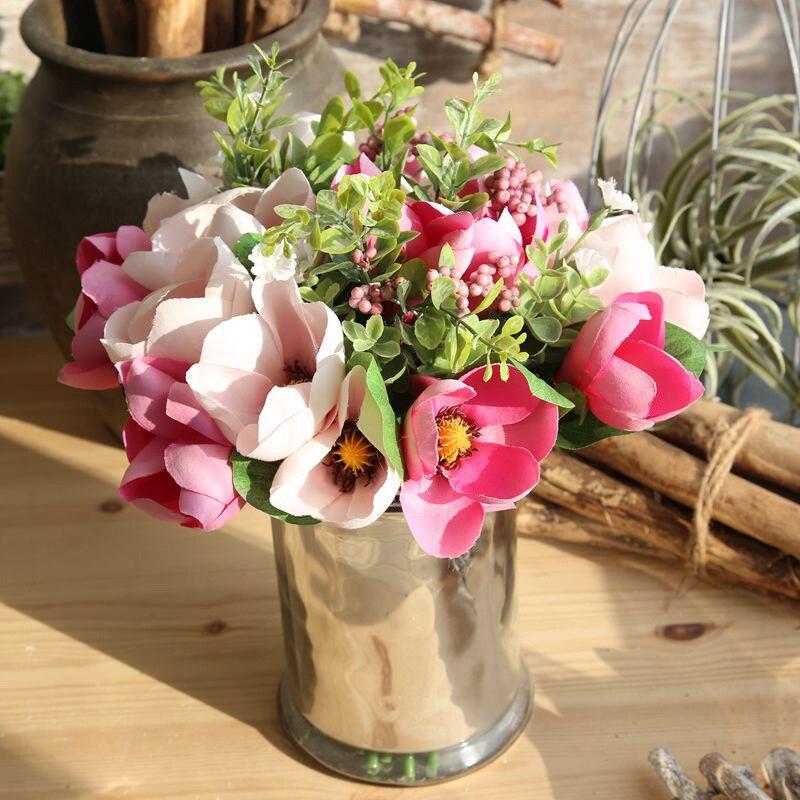 Wedding Hand Bouquet Flower: 6 Branch Silk Orchids Magnolia Bouquet Artificial Flower