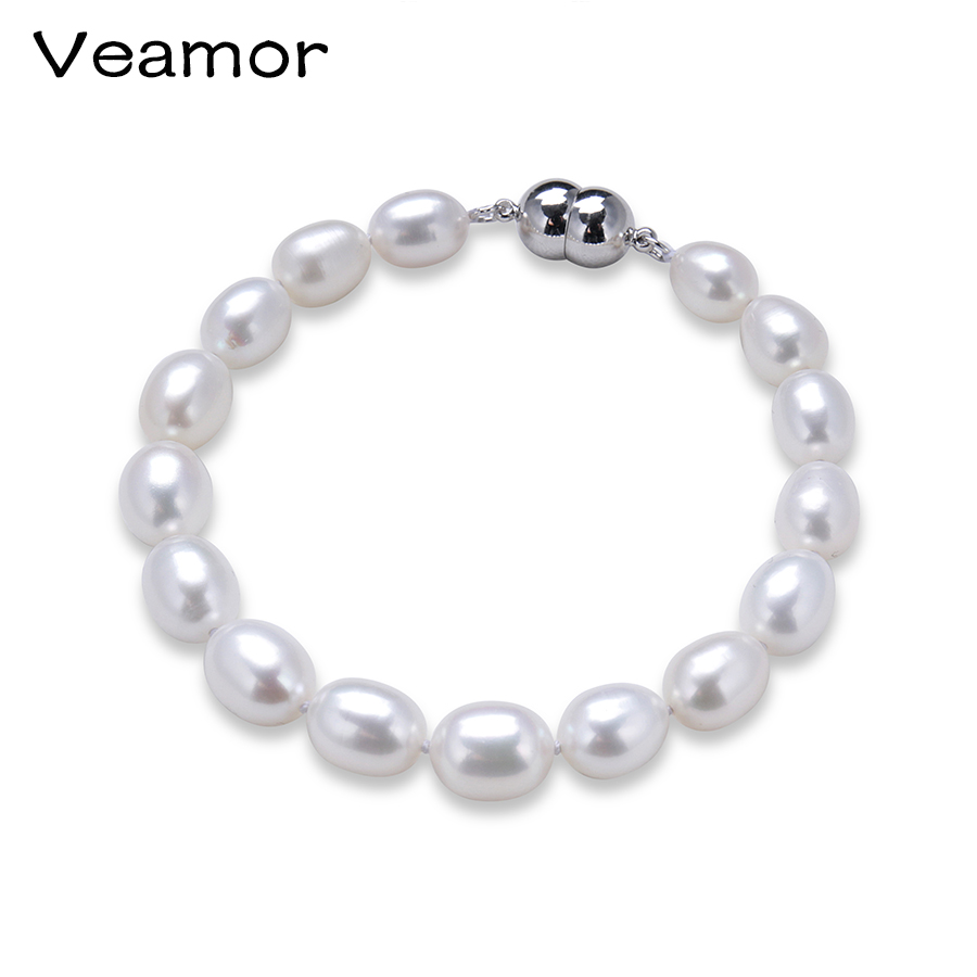 Veamor 2017 Charm Bracelet Pearl Jewelry Fine Natural Freshwater Pearl High Quality 925 Sterling Silver Pearl Bracelet For Women