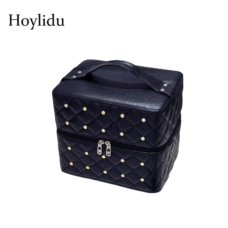 PU Leather Professional Cosmetic Case For Women Make Up Fashion Multilayer Beauty Makeup Box Large Capacity Travel Organizer Bag цена 2017