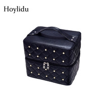 PU Leather Professional Cosmetic Case For Women Make Up Fashion Multilayer Beauty Makeup Box Large Capacity Travel Organizer Bag