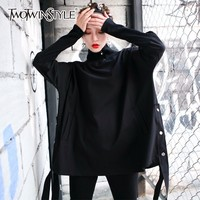 TWOTWINSTYLE Turtleneck Hoody For Women Ribbon Batwing Sleeve Pocket Black Pullover Top Female Spring Fashion Harajuku Clothing