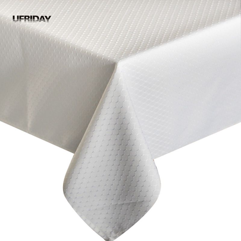 UFRIDAY 2019 New Arrival White Square Tablecloth Waterproof Advanced Simple Table Cloth 100% Polyester Oilproof Hot Tablecloths