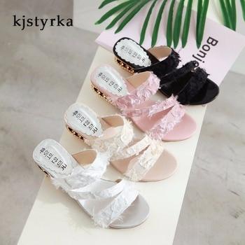 569d234005f91 Kjstyrka/2019 г.; классическое платье; однотонная модная обувь с открытым  носком; женские шлепанцы; удобные летние женские туфли на не сужающемся к.