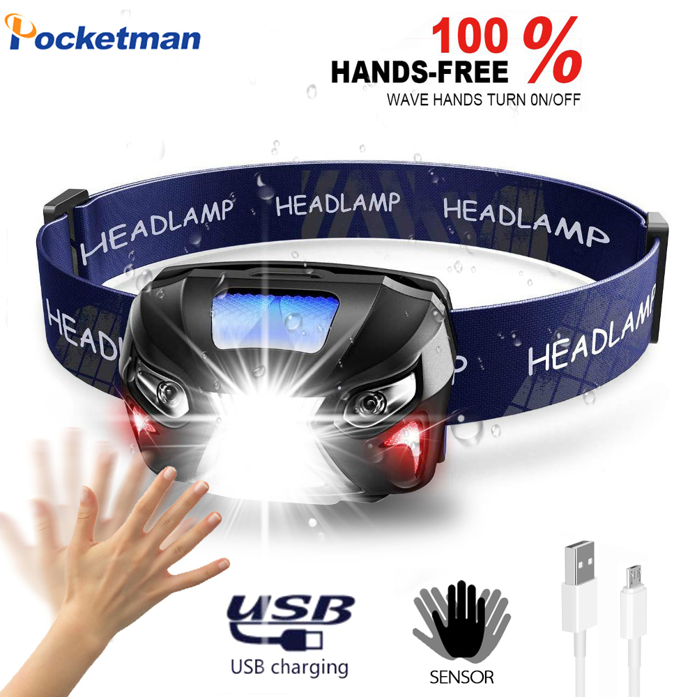 Most High Bright Headlamp Body Motion Sensor Head USB Rechargeable LED Headlight  Flashlight Camping Torch Light Lamp