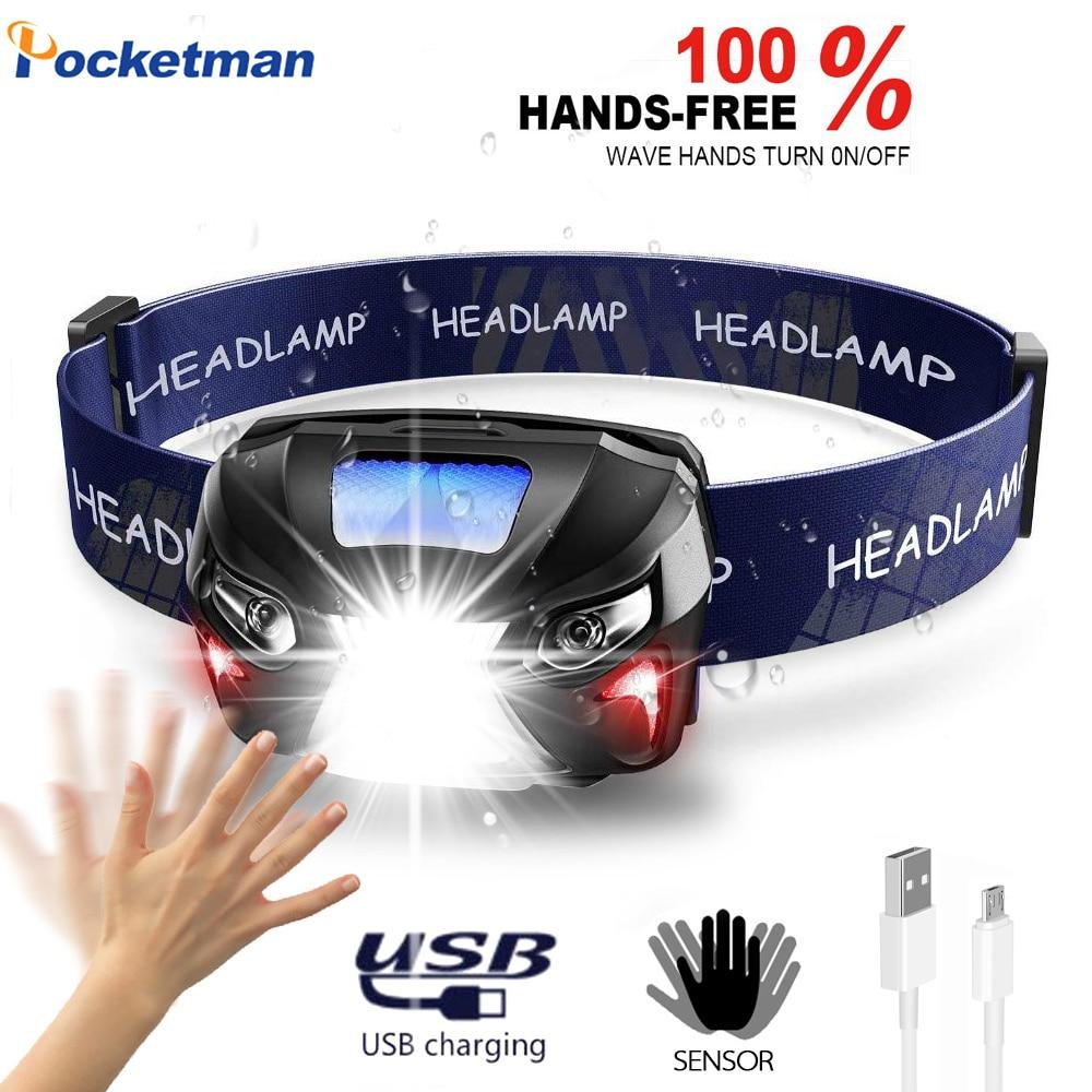 Most High Bright Headlamp Body Motion Sensor Head USB Rechargeable LED Headlight  Flashlight Camping Torch Light Lamp