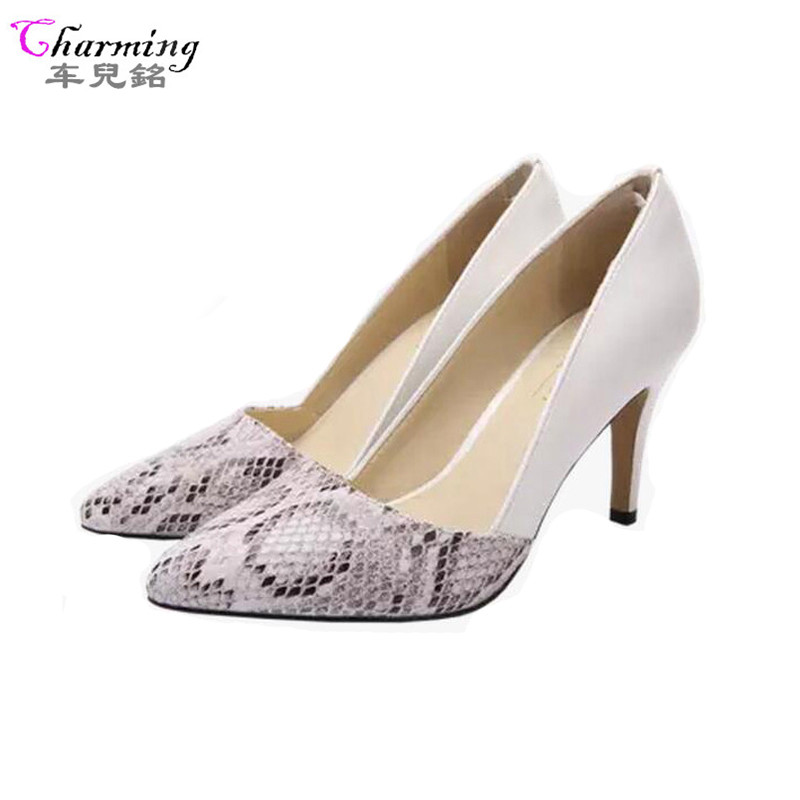 2016 NEW women pumps 6cm and 8cm snake grain elegance women shoes comfortable high heels pointed