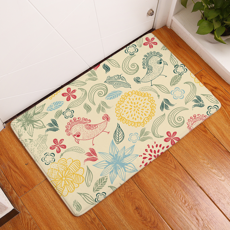 2017 New Flowers Print Carpets Non-slip Kitchen Rugs for Home Living Room Floor Mats 40x60cm 50x80cm