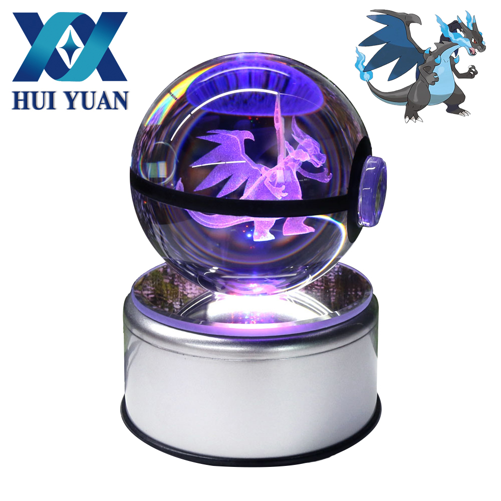 3D Lamp Crystal Ball 5cm 8cm Pokemon Glass Ball LED Colorful Rotation Base Night Light Creative Children Birthday Christmas Gift