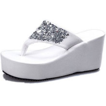 Summer of 2017 Clip toe Diamond Waterproof Breathable thick Bottom Wedge  Heel shoes High-heeled Sandals Female Slippers Sandals a89f4bfcb2d5