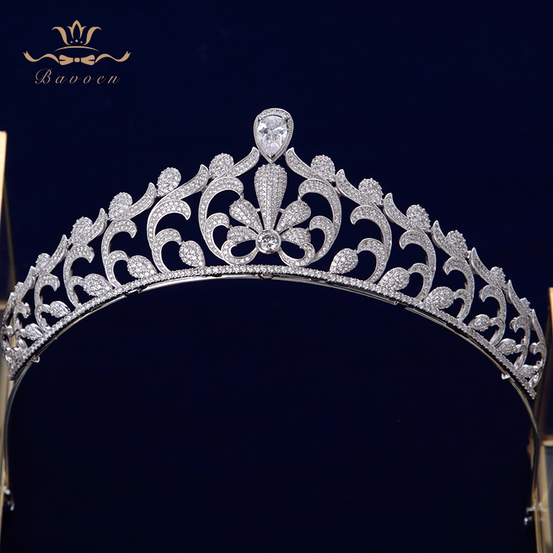 Bavoen Elegant Clear Full Zircon Brides Crowns Tiaras Silver Crystal Wedding Hairbands Leaves Bridal Hair Accessories