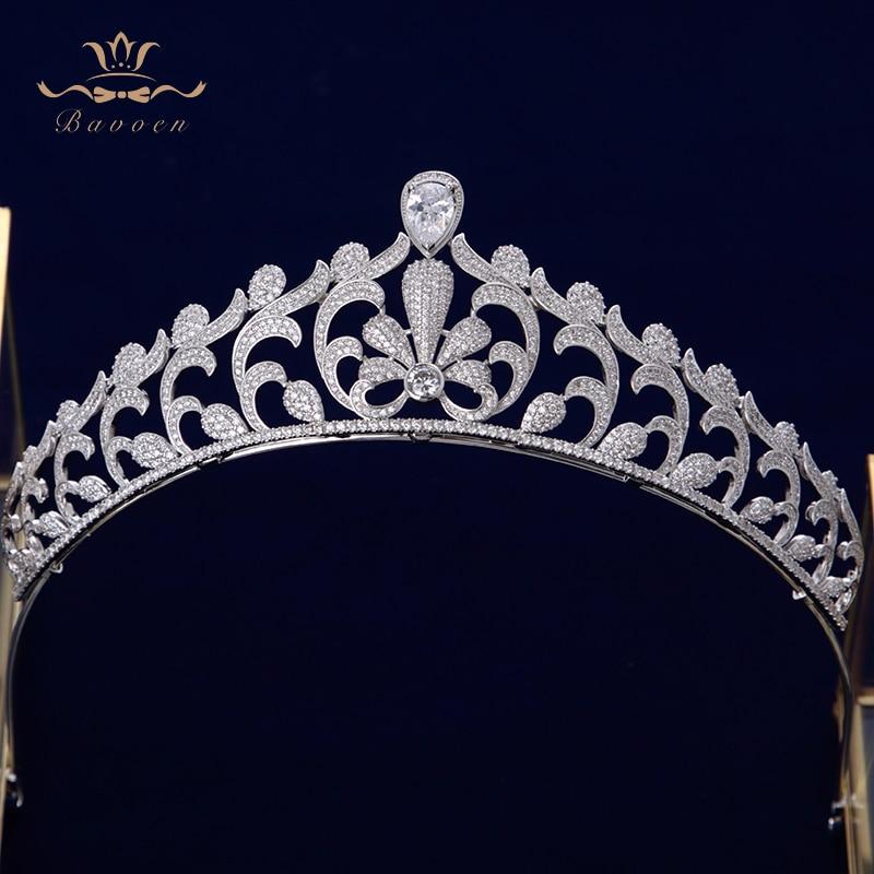 Bavoen Elegant Clear Full Zircon Brides Crowns Tiaras Silver Crystal Wedding Hairbands Leaves Bridal Hair Accessories
