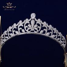 Bavoen High end Bruiden Clear Zirkoon Bladeren Crown Tiara Avond Silver Crystal Haarbanden Bruiloft Haaraccessoires