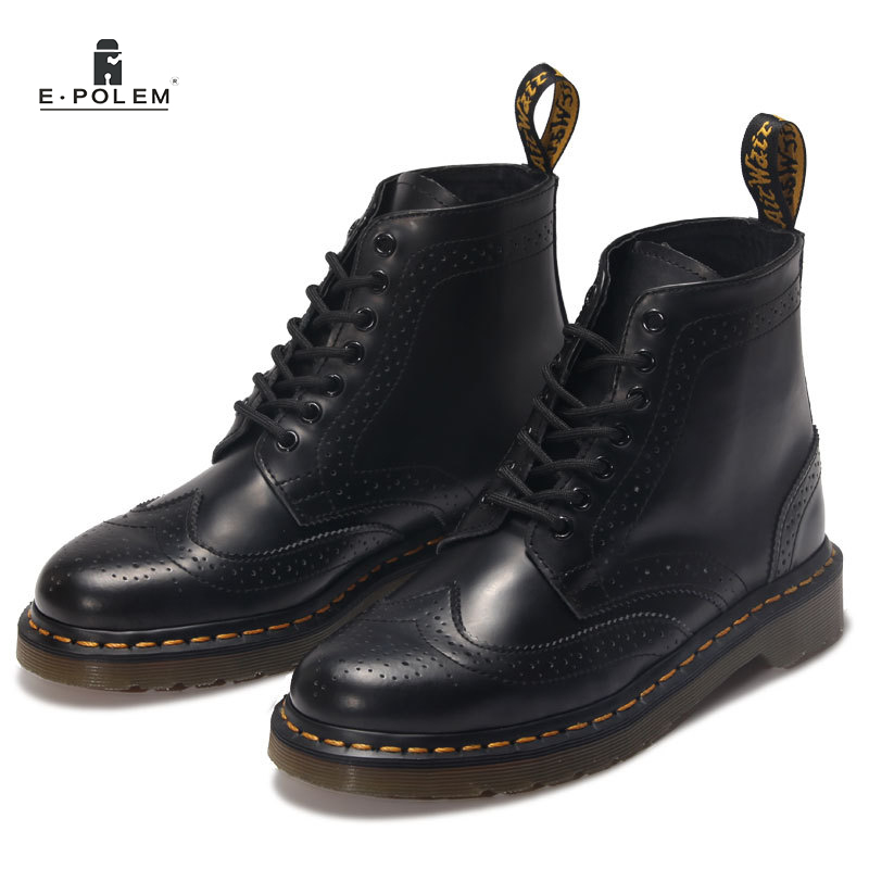 Black Genuine Leather Martin Boots Brogue Ankle Boots Shoes Unisex Women Motorcycle Spring Autumn Brock Martin Boots 2017 women martin boots 2017 autumn winter punk style shoes female genuine leather rivet retro black buckle motorcycle ankle booties