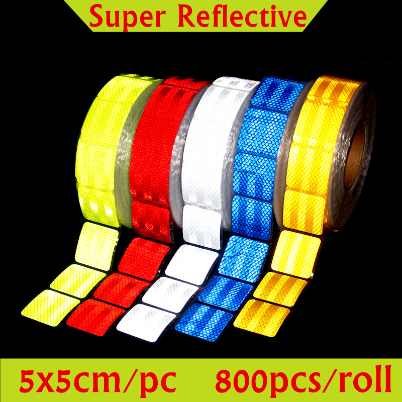 800pcs/roll 5x5cm(2x2) Supper Reflective Car Stickers Truck Motorcycle Warning Strips Auto Safety Tape Sticker for car styling [wamami] 649 england style coat suit outfit clothes for 1 3 sd dz dod boy bjd
