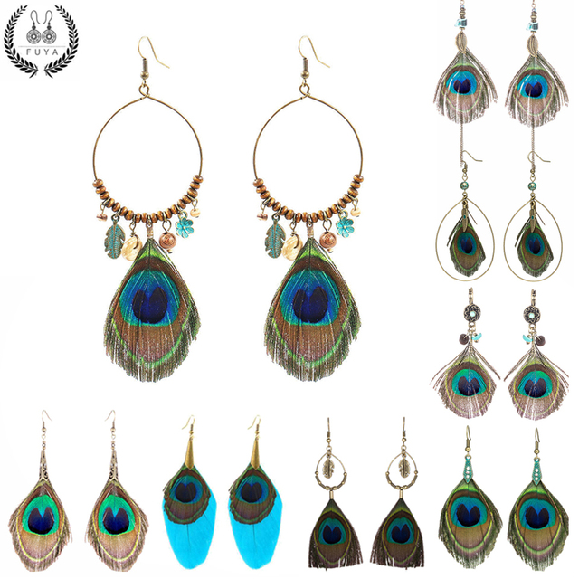 2018 Feather Women's earrings Ethnic Round Wooden Beads Peacock Feather Long tas