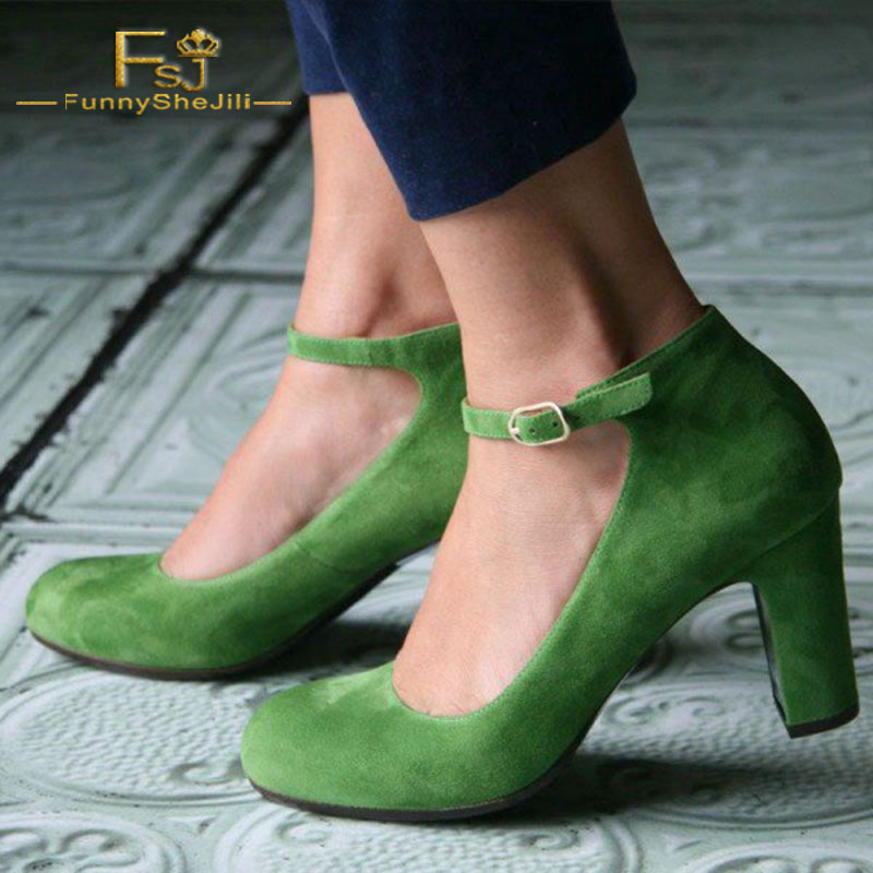687b8949b FSJ Women Shoes Ladies Pumps 2018 Spring Autumn Green Suede Ankle Strap  Heels Vintage Round Toe Chunky Big Shoes Size 44 45 46-in Women's Pumps  from Shoes ...