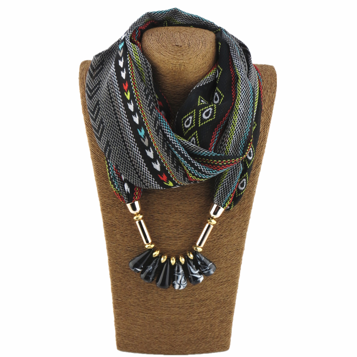 Fashion Design Style Chiffon Scarf Jewelry Necklace Resin Aleck Beads Pendant Scarf Women's Headscarf Free Shipping