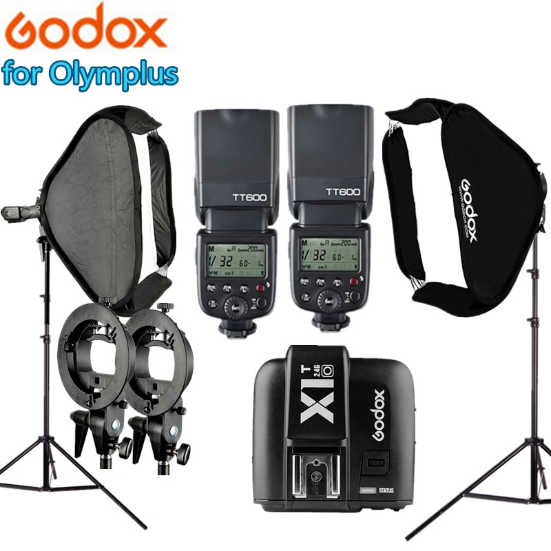 Photo Video Equipment Photography Flashlight Photo Studio Kit 2x Godox TT600 Flash + Light Stand + 60x60cm Softbox for Olymplus 2pcs godox sl100y 3300k video continuous light 60x90cm softbox light stand photo studio equipment kit yellow version