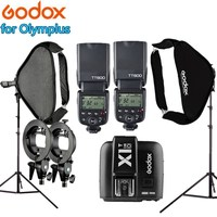 Photo Video Equipment Photography Flashlight Photo Studio Kit 2x Godox TT600 Flash + Light Stand + 60x60cm Softbox for Olymplus
