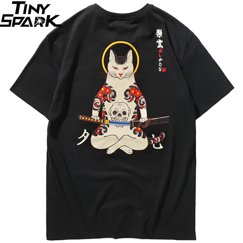 Men Harajuku   T     Shirt   Japanese Ninja Cat Skull Tshirt Hip Hop Streetwear Ukiyoe Embroidery   T  -  Shirts   2019 Summer Cotton Tops Tees