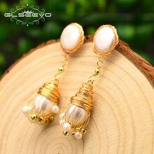 XlentAg Handmade Natural Freshwater Baroque Pearl Tassel Drop Earrings For Women Wedding Fine Jewelry Kolczyki GE0687