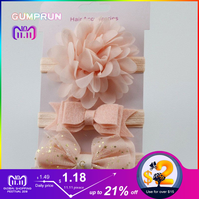 купить baby girl headband elastic floral girls hair band lace bow baby hair accessories newborn photography props girl hair band недорого