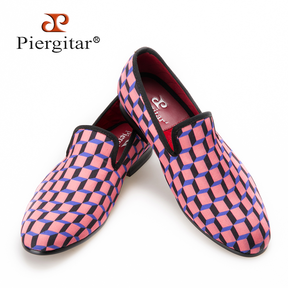 Piergitar Canvas Shoes Loafer Handcrafted Multi-Colors Casual Check Print 3D for Daily