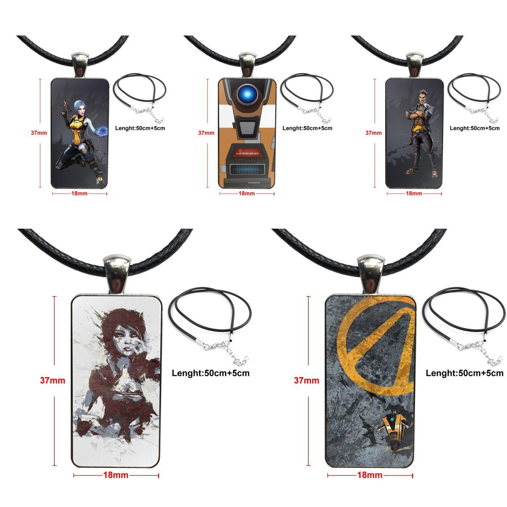 Borderlands Fashion Glass Cabochon Pendant Necklace With Women Steel Plated Statement Jewelry For Kids Beads