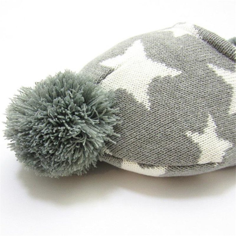 US $13 99 |Stars Crochet Baby Hat for Girls and Boys Kids Hats with Balls  Baby Boys Hat Winter Baby Hat Knit Infant Caps 1 6 Years old-in Hats & Caps
