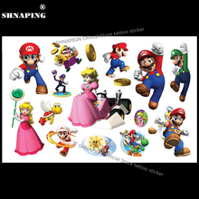 SHNAPIGN Lovely Super Mario Child Temporary Tattoo Body Art Flash Tattoo Stickers 17x10cm Waterproof Henna Tatoo Car Styling