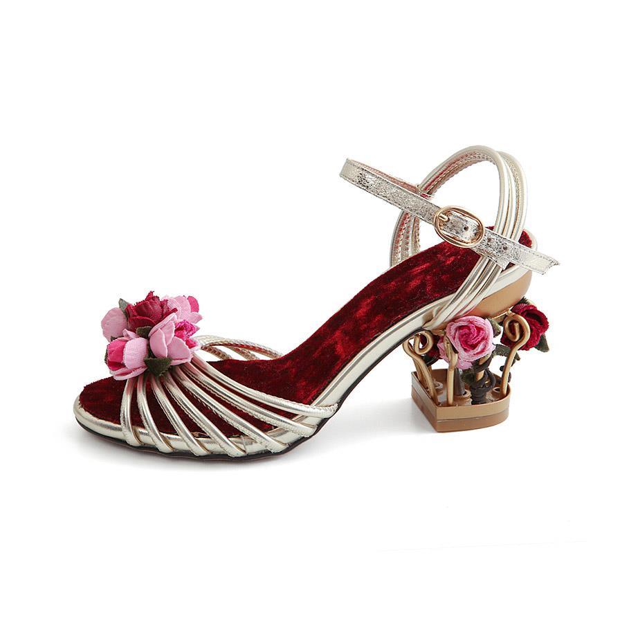 Femmes mode Style Rose fleur cheville boucle sangle évider sandales d'été fleur décoration or métal talon chaussures de mariage
