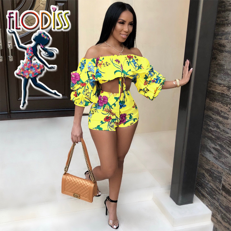 FLODISS Elegant Ruffle Off the Shoulder Crop Top and Shorts Women 2 PCS Set 2018 NEW Summer Floral Print Boho Beach Clothes