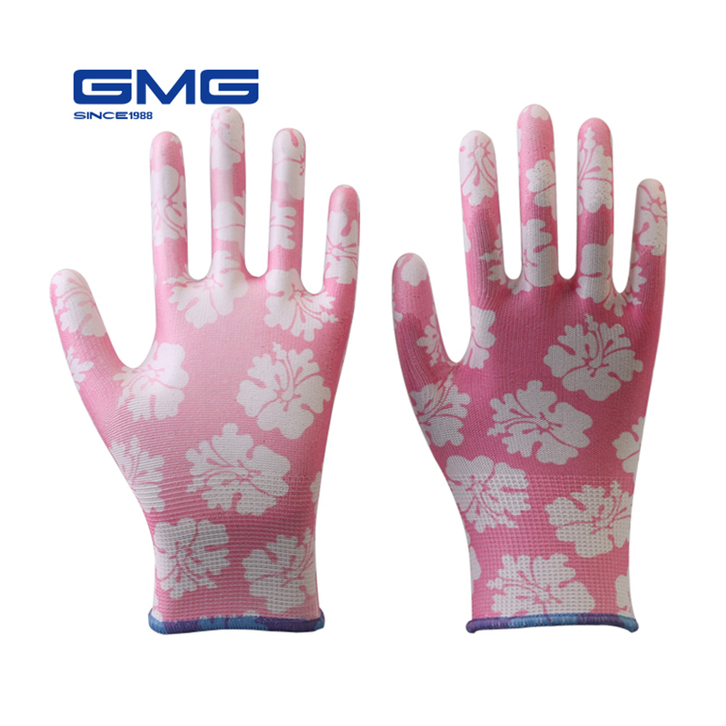 Garden Gloves GMG Printed Polyester Shell White PU Coating Safety Work Gloves Womens Working Gloves WomenGarden Gloves GMG Printed Polyester Shell White PU Coating Safety Work Gloves Womens Working Gloves Women