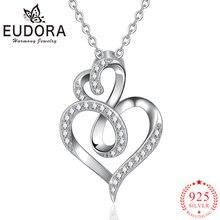 Женское ожерелье с подвеской в виде сердца из серебра 925 пробы