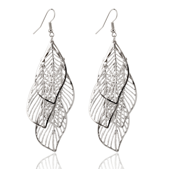 Beautiful Hollow Leaf Drop Earrings