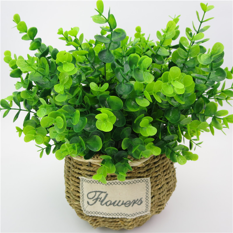 1 Branch Artificial Green Plant Eucalyptus Plastic Large Money Leaves Grass Bush For Home, Table, Office, Outdoor Decoration