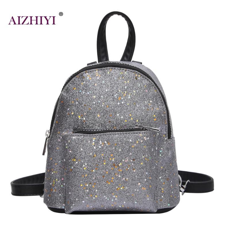2018 Women Backpack Glitter Sequins Pu Leather Back Bag Backpack Teenage Girl Mini Elegant Schoolbag Small Back Pack