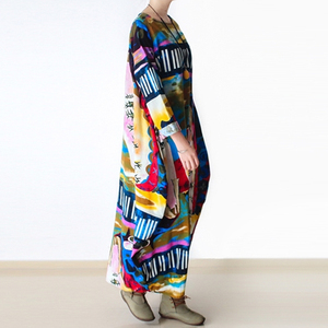Image 2 - Johnature 2020 New Print Women Maxi Dress Cotton Linen Long Sleeve Robe O Neck Loose Plus Size Long Spring Loose Dress