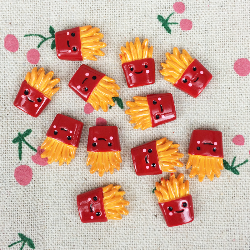 10Pieces Kawaii Flat Back Flatback Resin Cabochons Miniature Artificial French Fries Food DIY Decorative Craft:11*17mm