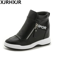 XJRHXJR High Quality Women Wedge High Heels Shoes White Black Ankle Boots Platform Sneakers Height Increasing