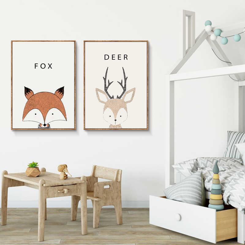 Animal Fox Bunny Canvas Poster Nursery Wall Art Print Baby Kids Bedroom Decor
