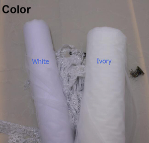 Image 2 - New Arrival 2 Layers Sequins Lace Edge Short Woodland Wedding Veils with Comb 2 T White Ivory Tulle Bridal Veils