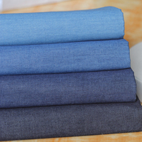 100 Cotton Summer Soft Water Wash Denim Baby Thin Fabric Solid Color Skirt Shirt Clothes Fabric