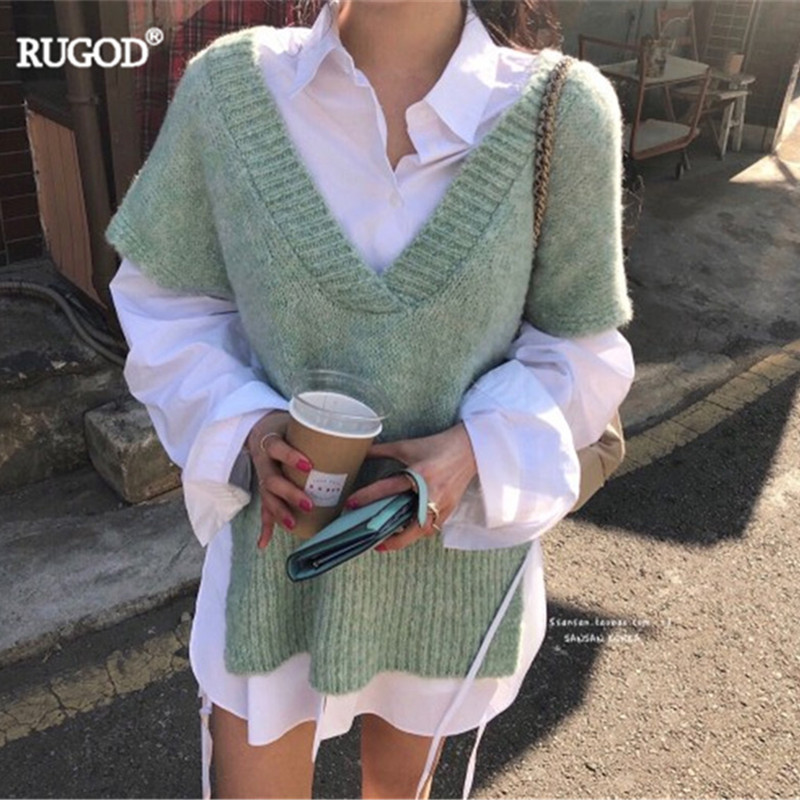 RUGOD Women Sweater And Pullovers 2019 Autumn V Neck Side Split Sleeveless Knitted Sweater Korean Solid Waistcoat Vest Plus Size