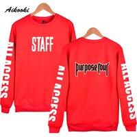 Aikooki Mode Justin Bieber PERSONEEL Capless sweatshirt hoodies Mannen/Vrouwen Kpop sweatshirt Mannelijke Vrouwelijke Jas winter herfst Kleding