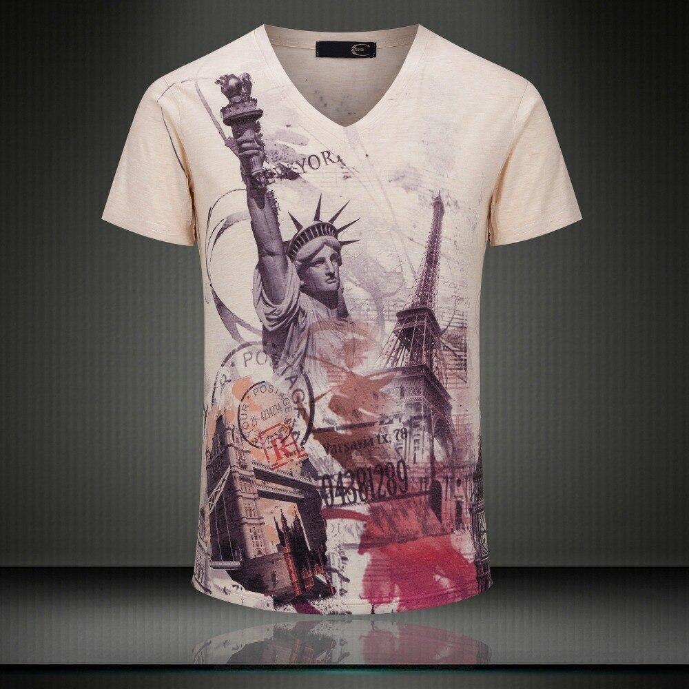 Man Si Tun Top Quality Vintage 3D Print T-shirts Brand England Flag Men Casual Cotton T shirt V Neck Tops Man T-Shirts Clothing