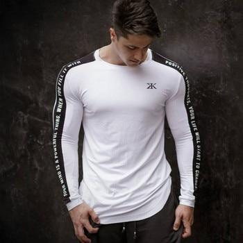 3771f9e52 GYMS marca 2018 nueva moda ropa de hombre de Color sólido de manga larga  Slim Fit Camiseta de algodón para hombre Casual T camisas M-3XL >> ...