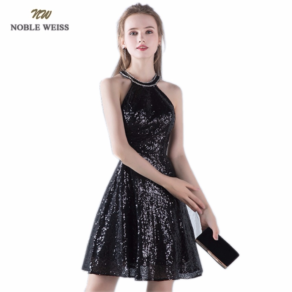 NOBLE WEISS Sexy Prom Dresses 2019 Sequin Vestido De Formatura Mini Custom Made Bare Back Sexy Black Party Dress